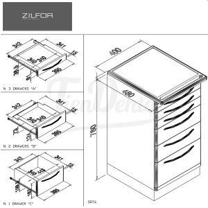 Carrito-Móvil-6-cajones-Zilfor-medidas-Tiendental-mobiliario-clínica-dental
