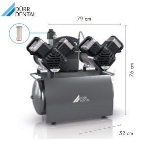 Compresor-Duo-Tandem-230V-Durr-Medidas-TienDental-equipamiento-clínica-dental-compresores-dentales